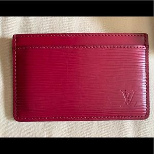 Louis Vuitton Epi Leather Card Holder in Fuchsia
